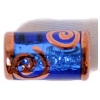 Glass Lamp Bead 16x8mm Tubes Sapphire/Silver Foiled/Bronze